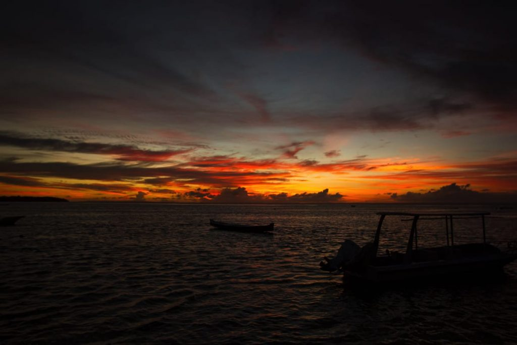 Beautiful sunset viewed from Nusa Lembongan