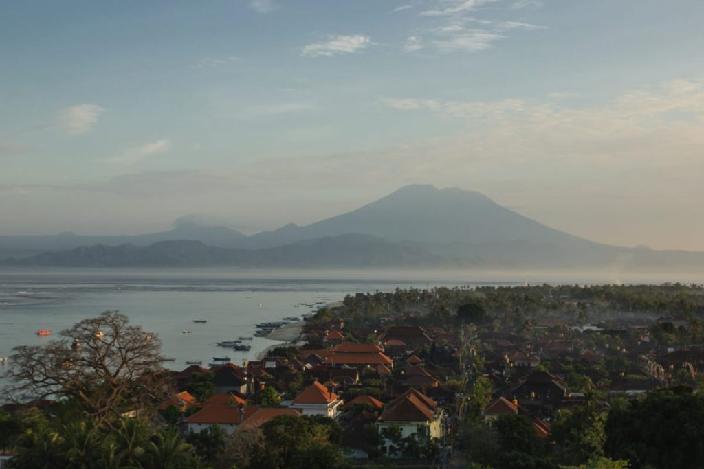 View over Lembongan at sunrise
