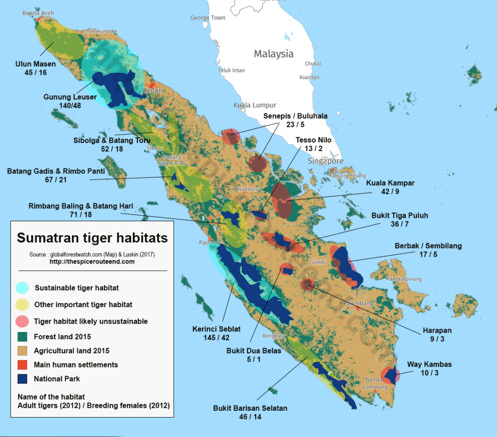 Map Sumatran Tiger Habitat
